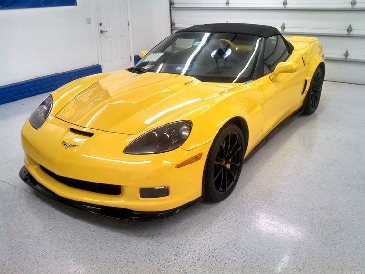 yellow chevy corvette detailing
