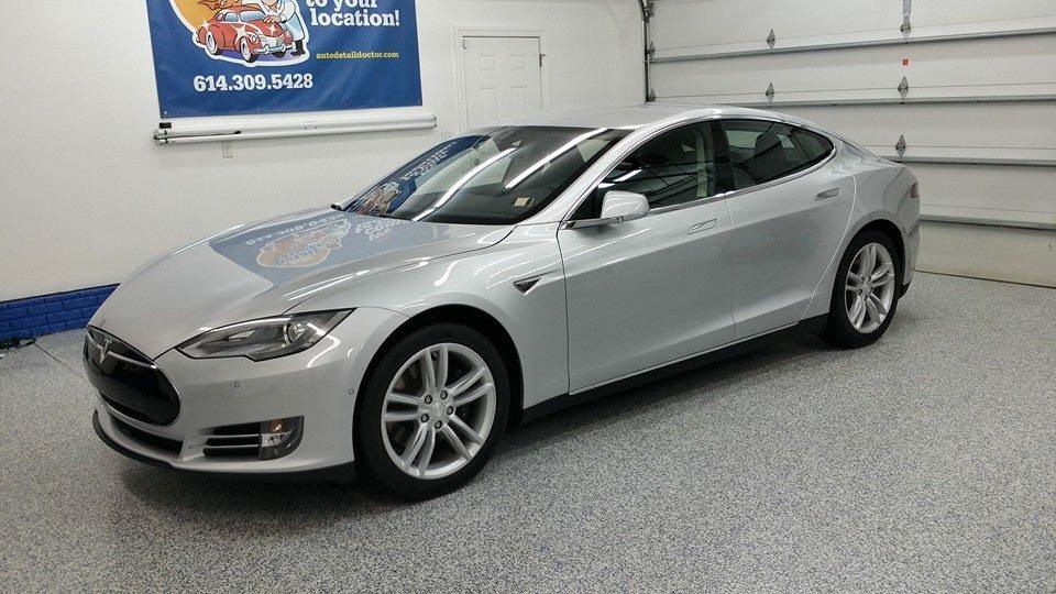 Silver Tesla Model S